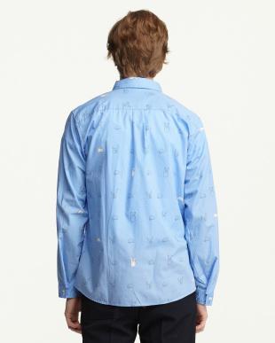 ブルー ジャンケンプリントシャツ見る