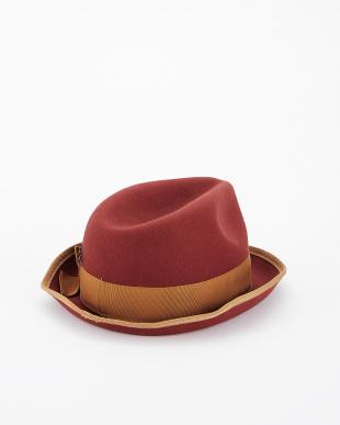 オレンジレッドフェルト中折れ帽見る