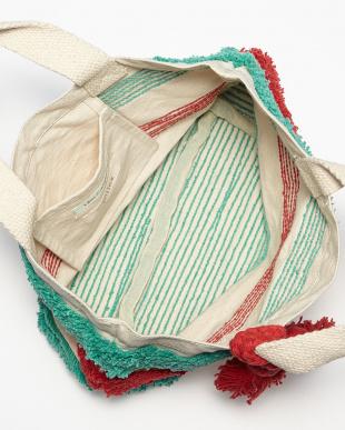 エメラルドグリーン タッセル付き刺繍ボーダートートバッグ見る