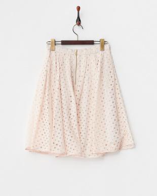 ピンク  サークル刺繍タックスカート見る