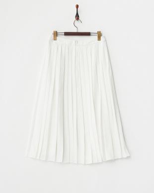 チョークホワイト  プリーツ・ミディ・スカート見る