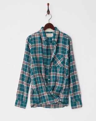 グリーン ヘリンボンシャーリング先染めチェック2Wayカシュクールシャツ見る