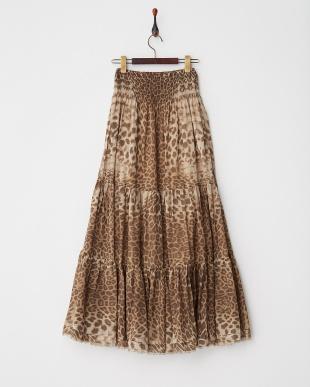 柄A レオパードプリント ティアードスカート見る