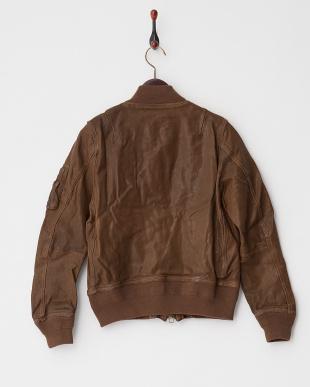 モカ ゴートレザーMA-1ジャケット見る
