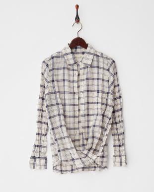 ブルー  綿麻シャーリングチェック2Wayカシュクールシャツ見る