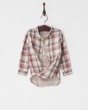 レッド  Wガーゼチェック&ストライプKid's2Wayカシュクールシャツ見る