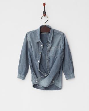 ブルー 4ozシャンブレー Kid's 2Wayカシュクールシャツ見る