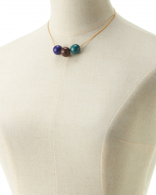 GREEN×BROWN×NAVY  THREE BALLS NECKLACE見る
