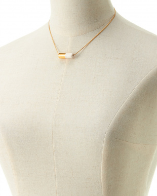 GOLD×WHITE  BICOLOR CYLINDER NECKLACE見る