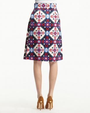 ホワイト PIANOLA 幾何学柄ボックスプリーツスカート見る