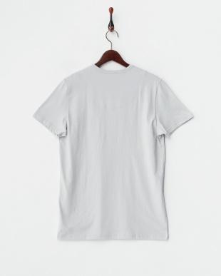 グレー×レッド  バック衿内柄切り替え半袖Tシャツ見る