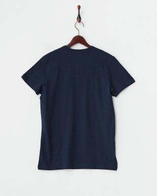 ネイビー  バック衿内柄切り替え半袖Tシャツ見る