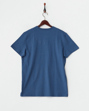 ブルー  バック衿内柄切り替え半袖Tシャツ見る