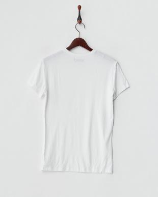 ホワイト  浅Vネック半袖Tシャツ見る