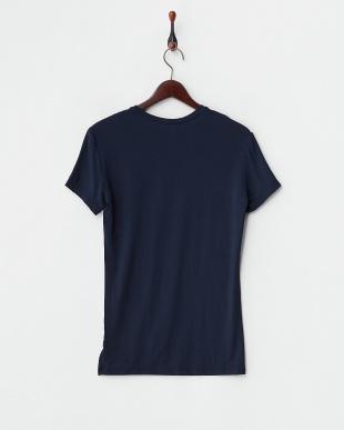 ネイビー  浅Vネック半袖Tシャツ見る