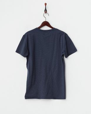 ネイビー  細ボーダー半袖Tシャツ見る