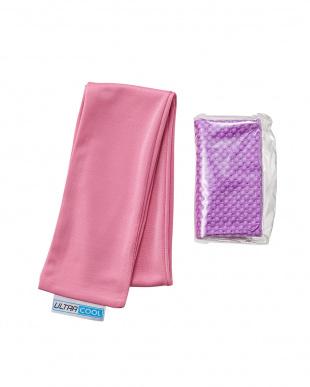 ピンク/パープル  日本製 洗えるひんやりタオル & ICE 3D TOWEL(Mサイズ)セット見る