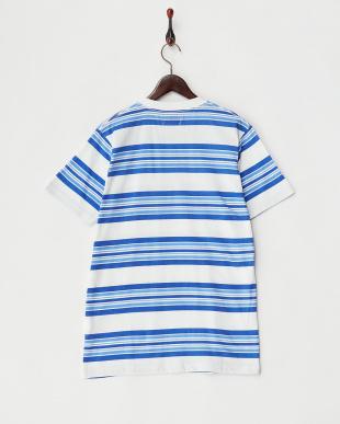 BLUE マルチボーダークルーネックTシャツ見る