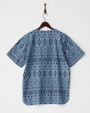 BLUE ネイティブ総柄 ヘンリーTシャツ見る