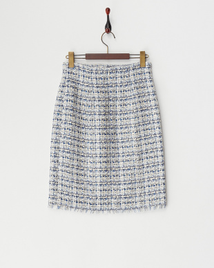 ブルー  ツイードタイトスカート見る