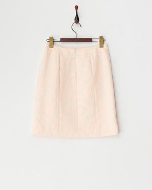 ピンク  スリット入りパステルジャカードスカート見る