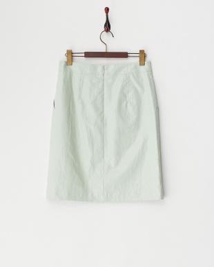 ライトグリーン  光沢リネンスカート見る