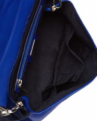 ブルー  異素材コンビ2WAYバッグ見る