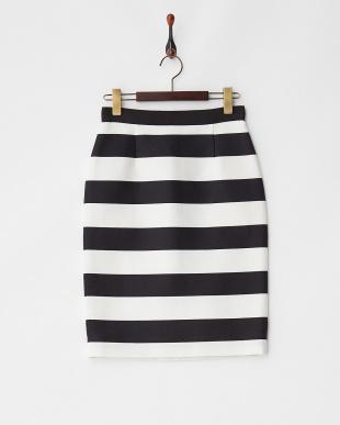 ネイビー×ホワイト ボーダータイトスカート見る