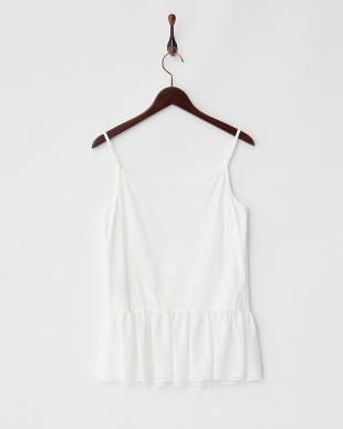 ホワイト  裾シフォンフリル切り替え リヨセル綿キャミブラウス見る