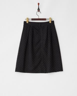 ブラック  ウエストグログラン 幾何学レーススカート見る