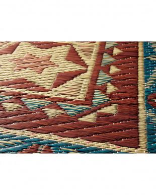 ブルー メルカ 国産い草ラグ 191×191cm見る