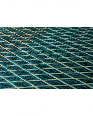 ブルー パドロック 国産い草ラグ 191×191cm見る