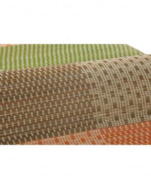 オレンジ 絣(かすり) 国産い草ラグ(裏貼り) 140×210cm見る