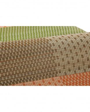 オレンジ 絣(かすり) 国産い草ラグ(裏貼り) 210×210cm見る
