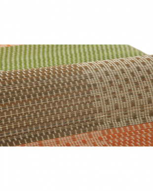 オレンジ 絣(かすり) 国産い草ラグ(裏貼り) 280×280cm見る