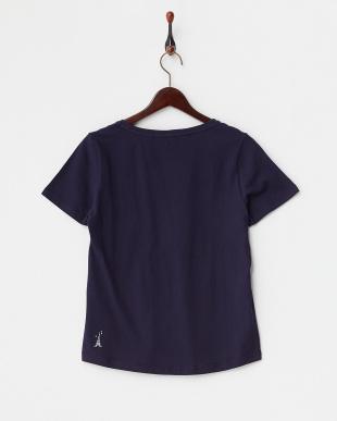 ネイビー  英字刺繍Tシャツ A見る