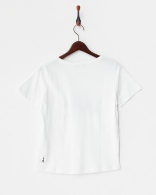 ホワイト  英字刺繍Tシャツ B見る