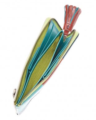 マルチ カラーブロック レザーL型ファスナー長財布見る