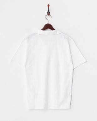 ホワイト リンクスボーダースキッパーポロシャツ見る
