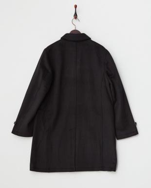 ブラック ウールカルゼステンカラーコート見る