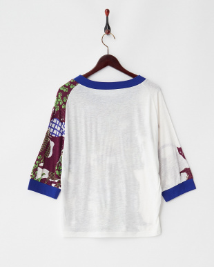 ホワイト チャートねこジャージー5分袖Tシャツ見る