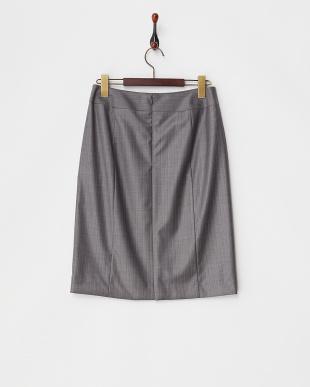 グレー super150ストライプスカート見る