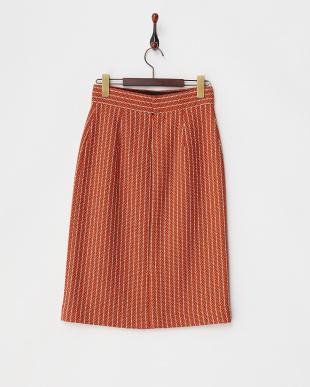 オレンジ PONTETORTO ストライプスカート見る