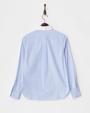 ブルー 切り替えオックスシャツ見る