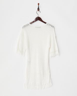 ホワイト 透かし編みプルオーバーニット見る