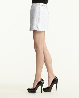 WHITE 2 WAY SEQUIN MINI スカート見る