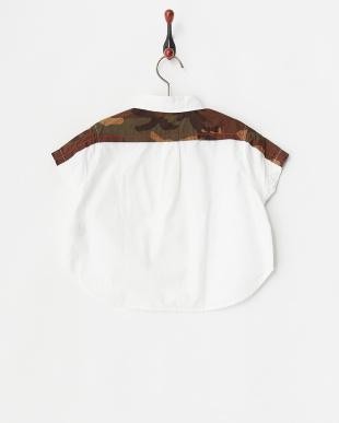 ホワイト ドロップショルダールーズシャツ見る