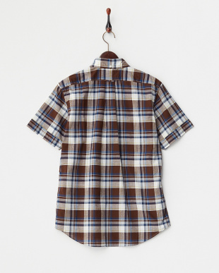BROWN/BLUE  GYMPHLEX MADRAS CHECK SHORT-SLEEVE SHIRTS見る