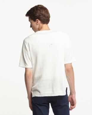 オフホワイト コットンリネン半袖 ダメージニットTシャツ見る