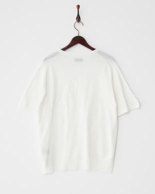 ホワイト キーネック半袖 ニットTシャツ見る